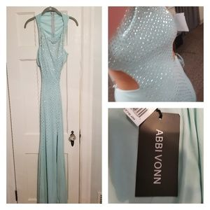 Mint Jersey Formal Illusion Gown from Abbi Vonn